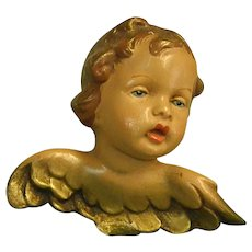 Beautiful Old Hand Painted Clay Putto
