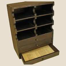 Antique Wooden Ophthalmic Ointment Countertop Cabinet