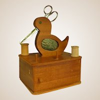Wonderful Wooden Sewing Box with Bird on Top