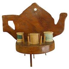Homemade Teapot-Shaped Sewing Shelf