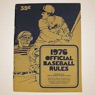 1976 Paperback Handbook Official Baseball Rules