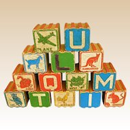 Wonderful Old Wood Interlocking Building ABC Blocks