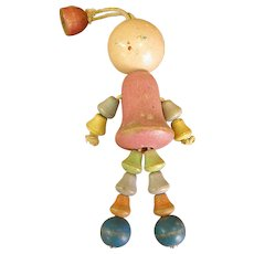 Vintage Wooden Bell Bead Crib Toy