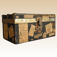Old Well-Loved Wooden Doll Trunk