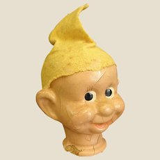 1930s Composition Puppet/Doll Head of Dopey from Snow White