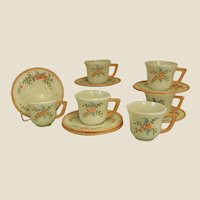 Darling Hand Painted Hazel Atlas Platonite Child's Cups and Saucers for Tea Set