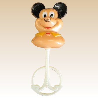 Well-Loved Hard Plastic Mickey Mouse Rattle