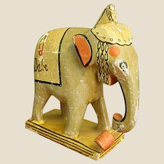 Adorable Old Papier Mache Toy Elephant
