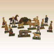 Miniature Flat Pressed Wood Rustic Village Figures with Cottage