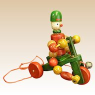 Darling 1950s Wooden Tricycle Pull Toy