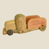 Rustic Homemade Wooden U. S. Army Truck
