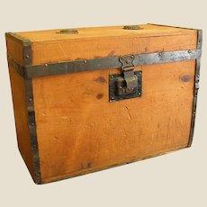 Antique A. E. Meeks Wooden Trunk