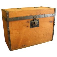 Antique A. E. Meeks Wooden Trunk