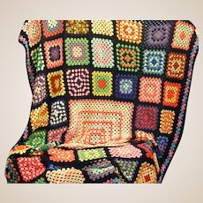Large Granny Square Hand Crocheted Afghan