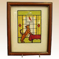 Cute Framed Needlework of Mischievous Cat