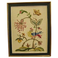 Wonderful Framed Crewel Embroidery Piece