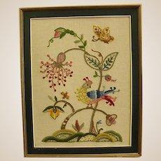 Wonderful Framed Crewel Embroidery Piece