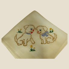 Cute Hand-Embroidered Puppy Dog Cloth