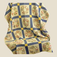 Well Loved Hand Stitched Dresden Quilt