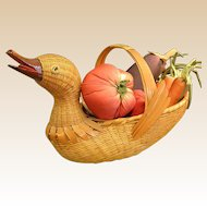 Darling Woven Duck Basket Filled with Fabric Vegetables