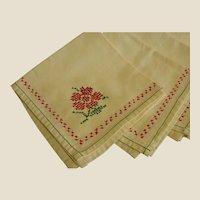 Set of Six Cross-Stitched Heavy Cotton Napkins