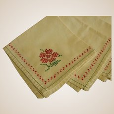 Set of Six Cross-Stitched Heavy Cotton Napkins