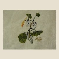 Signed and Dated Floral Cross Stitch