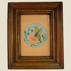 Lovely Framed Petit Point Hummingbird