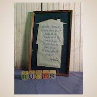 """Framed Needlework """"Home Rules"""""""