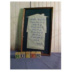 "Framed Needlework ""Home Rules"""