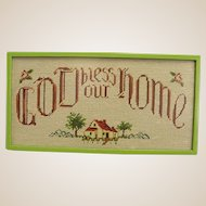 "Vintage ""God Bless Our Home"" Framed Needlepoint"