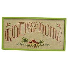"Vintage ""God Bless Our Home"" Framed Needlepoint"