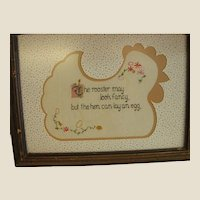 Charming Custom Matted Cross Stitch Chicken