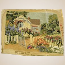 Beautiful Needlepoint Cottage with Spring Flowers