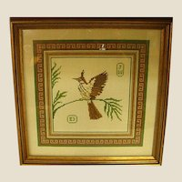 Vintage Framed Needlework Bird