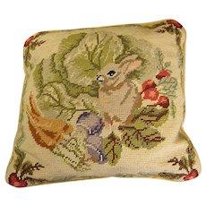 Adorable Rabbit Needlepoint Pillow
