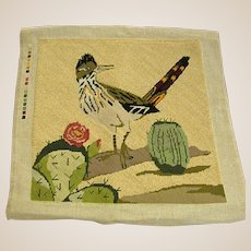 Sassy Roadrunner Perched on a Cactus Needlepoint