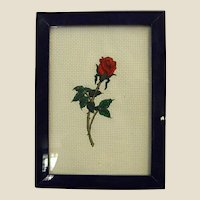 Sweet Framed Needlework Single Rose