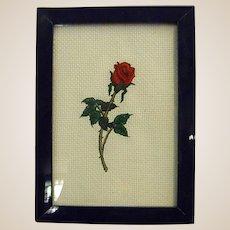 Sweet Framed Needlework Single Rose