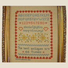 Signed and Framed Sampler Counted Cross Stitch