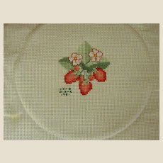 Signed and Dated Strawberry Cross Stitch