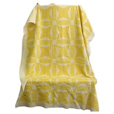 Cheery Hand Quilted Yellow and White Quilt