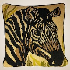 Lovely Needlepoint Pillow with Zebra