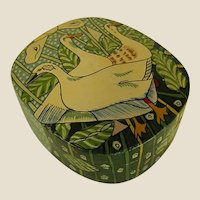 Charming Little Papier Mache Ring or Trinket Box