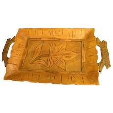 Beautiful Small Hand-Carved Wooden Tray
