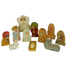Adorable Hand Painted Wooden Nativity Set