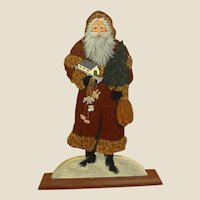 Hand Painted Signed Wooden Santa Claus