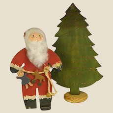 Well Loved Hand Painted Wooden Santa and Christmas Tree