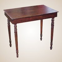 Unusual Primitive Pine Screw Leg Occasional Table