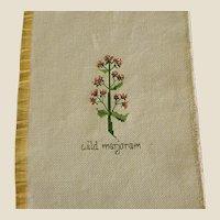 ON HOLD - Cross Stitch of Wild Marjoram Herb